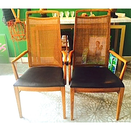 Mid-Century Wood & Cane Armchairs - a Pair - Image 2 of 5