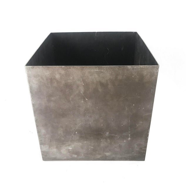 Vintage Cube Architectural Supplements Distressed Steel Planter For Sale - Image 5 of 6