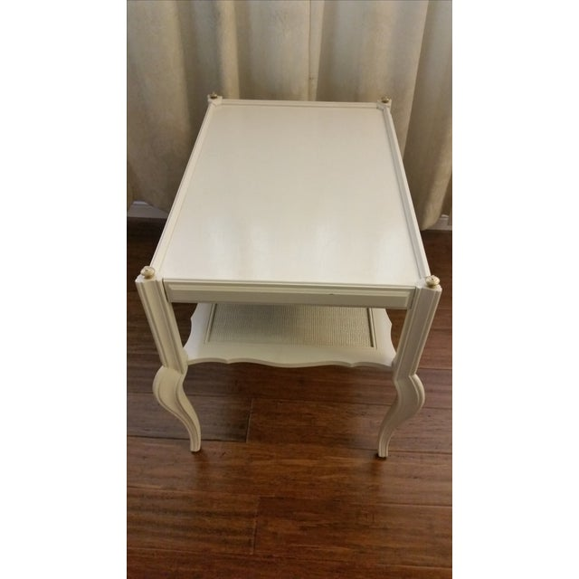 White Solid Wood & Cane Two-Tier End Table - Image 4 of 6