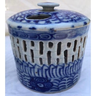 18th Century Chinese Porcelain Candleholder With Reticulated Shade Preview