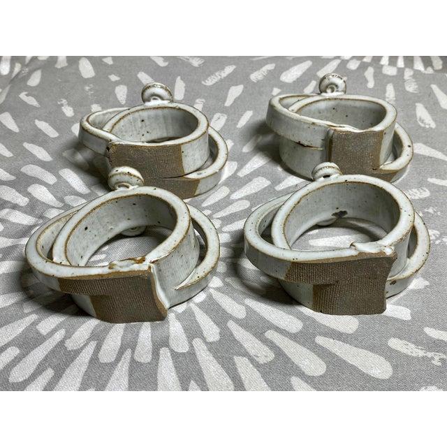 American 1970s Vintage Raku Harloff & Hunt Studio Pottery Napkin Rings - Set of 4 For Sale - Image 3 of 4