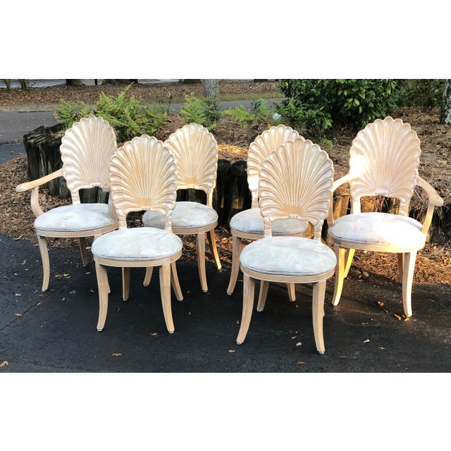 Hollywood Regency Vintage Clam Shell Grotto Chairs - Set of 6 For Sale - Image 3 of 11