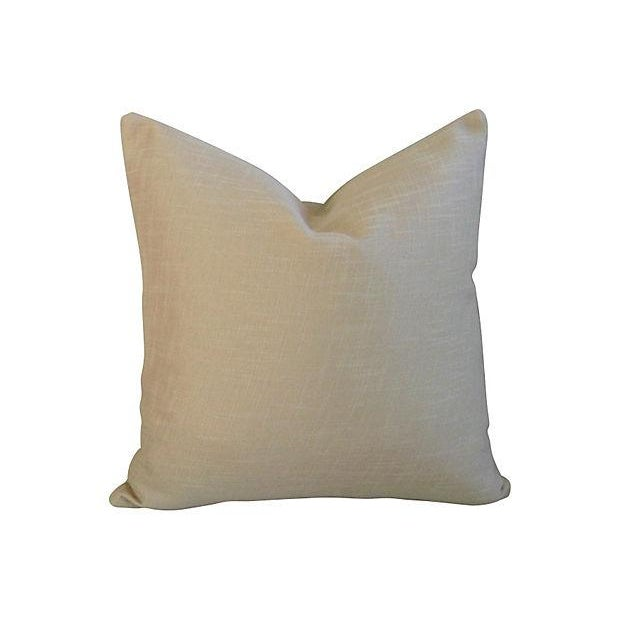 Genuine Italian Sandy Putty Leather Pillows - Pair - Image 2 of 5