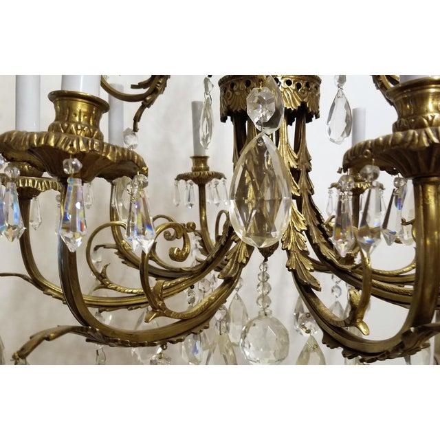 Bronze 1920s Louis XVI Bronze & Crystal 12 Lights Chandelier For Sale - Image 7 of 10
