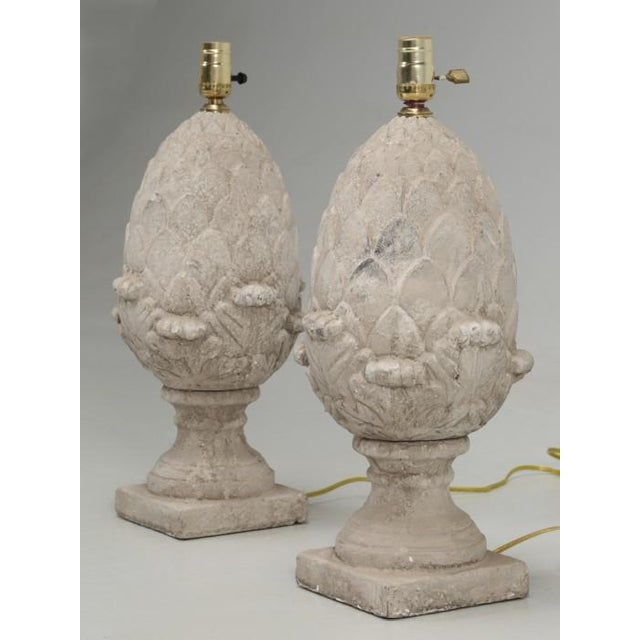 French Country Artichoke Faux Stone Lamps - a Pair For Sale - Image 3 of 11