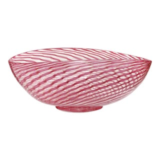 Fratelli Toso Murano Pink Aventurine Ribbons Italian Art Glass Mid Century Centerpiece Bowl For Sale
