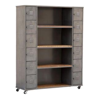 Two-Column Wood & Steel Locker and Shelf Unit in Natural Steel, Custom Order For Sale