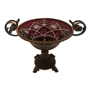 Antique Victorian Bohemian Ruby Bowl For Sale