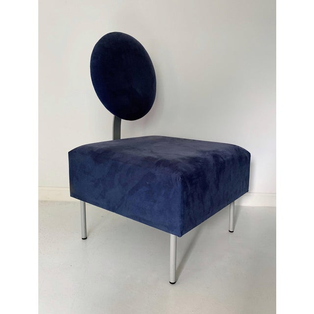 Vintage Andreu World contemporary blue square lounge chair with tilted backrest, circa 1980's in excellent condition.