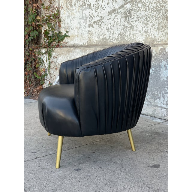 Superb Modern Pleated Black Faux Leather Chair Forskolin Free Trial Chair Design Images Forskolin Free Trialorg