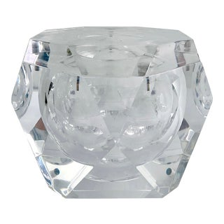 Vintage Alessandro Albrizzi Lucite Faceted Ice Bucket For Sale
