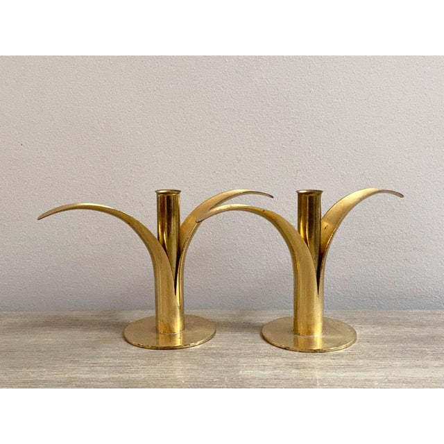Swedish Mid-Century Brass Candlesticks by Ystad Metall - a Pair For Sale - Image 13 of 13