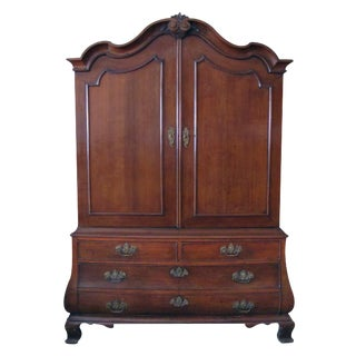 Handsome & Warmly Patinated Dutch Rococo Bombe-Form Carved Oak Two-Door Cabinet For Sale