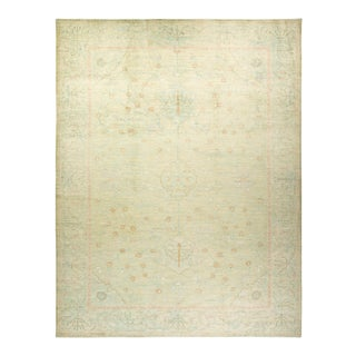 """Oushak, One-Of-A-Kind Hand-Knotted Area Rug - Green, 10' 5"""" X 13' 7"""" For Sale"""