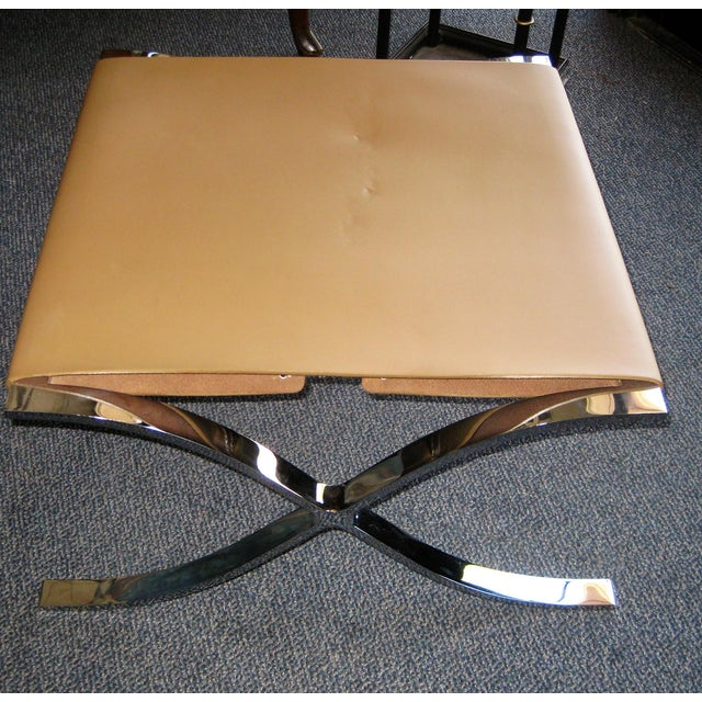 Chrome & Leather Stool For Sale - Image 7 of 7