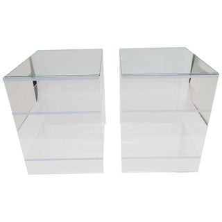 Showroom Sample - Custom Designed Lucite With Glass Top Night Stands / End Tables - a Pair For Sale