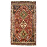 Image of 1970's Vintage Persian Qashqai Red Rug - 4'7' X 7'8'' For Sale