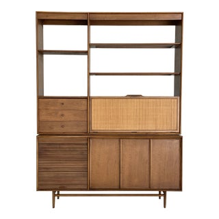Barney Flagg for Drexel Walnut and Cane Wall Unit Room Divider For Sale
