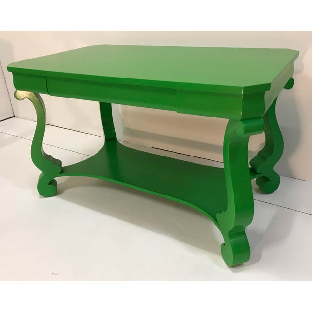 Dynamic color on a classic American Empire library table/desk. Color is Sherwin Williams Direct Green gloss finish as the...
