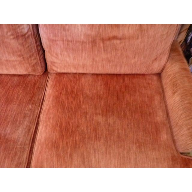 Pink Coral Velvet Sofa For Sale - Image 8 of 9