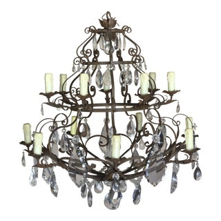 Antique Wrought Iron & Crystal Chandelier For Sale