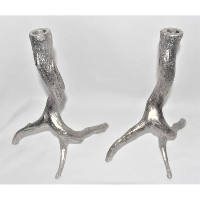 Pewter Tree Root Shaped Candlestick Holders - a Pair For Sale - Image 4 of 4
