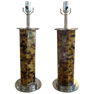 1970s Hollywood Regency Tessellated Horn Lamps - a Pair For Sale