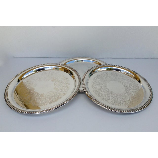 Large Silver Plate Round Platter Trays -Set of 3 - Image 5 of 11