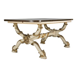 19th Century Italian Glass and Wood Center Table For Sale