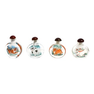 Reverse Painted Zodiac Animals Snuff Bottles - Set of 4 For Sale