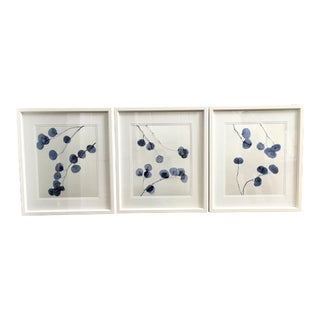 Blue Floral Trowbridge Prints - Set of 3 For Sale