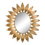 Image of 1960s Spanish Metal Sunburst Mirror For Sale