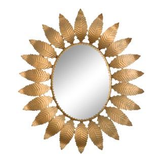 1960s Spanish Metal Sunburst Mirror For Sale