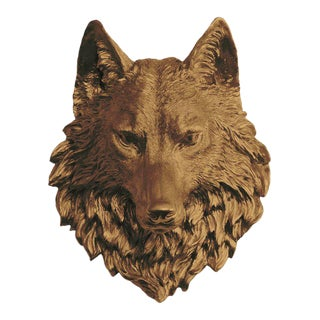 Wall Charmers Bronze Faux Taxidermy Wolf Head Wall Sculpture For Sale