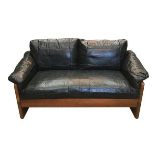 Vintage Mikael Laursen Danish Modern Leather Loveseat For Sale