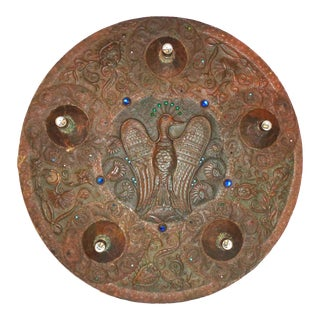 Arts and Crafts 'Peacock' Copper Repousse Light Fixture For Sale