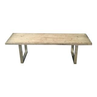 Boho Modern Raw Edge Wood Plank & Chrome Bench For Sale