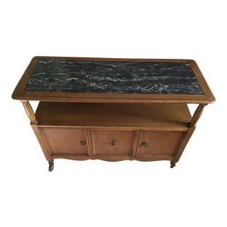 1900s Danish Modern Marble Top Style Rolling Bar Cart For Sale