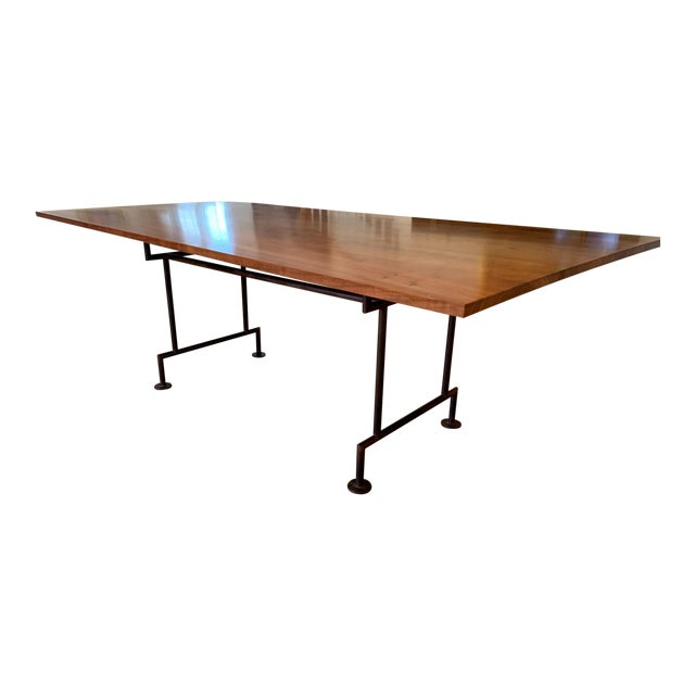 Industrial Style Custom Dining Table With Heavy Iron Base For Sale