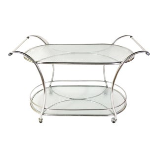 Mid Century Modern Polished Aluminum and Mosaic Pattern Glass Bar Cart For Sale
