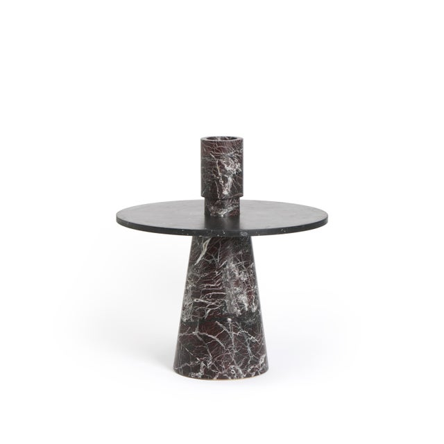 Modern Modern Coffee Table With Accessories in Red and Black Marble, by Karen Chekerdjian For Sale - Image 3 of 12