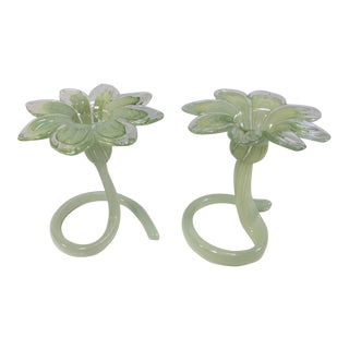 Murano Green Flower Handblown Italian Glass Candle Holders - a Pair For Sale