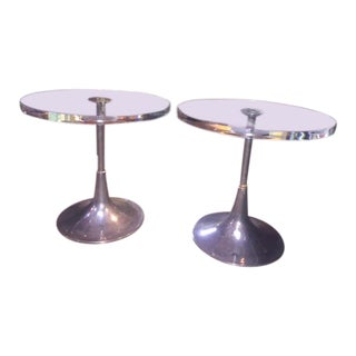 """Charles Hollis Jones """"Bugle"""" Base Side Tables - A Pair For Sale"""