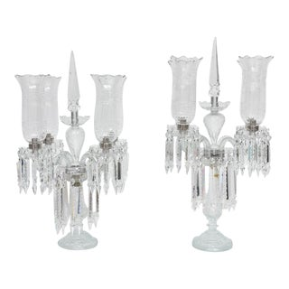 French Regency Style Cut-Crystal Girandoles Inspired by Baccarat - a Pair For Sale