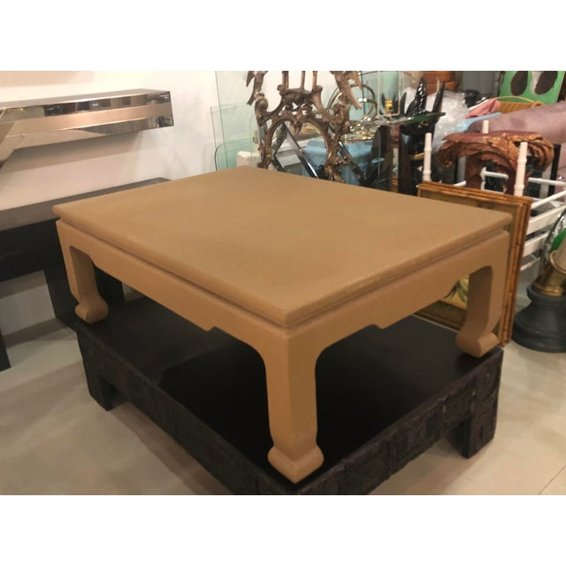 Asian Vintage Ernest C. Masi Tan Ming Lacquered Linen Raffia Coffee Cocktail Table For Sale - Image 3 of 11
