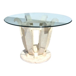 Vintage Carved Round Maitland Smith Style Pedestal Dining Table For Sale