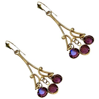 Art Nouveau Inspired Amethyst and 14 Karat Gold Chandelier Earrings - a Pair For Sale