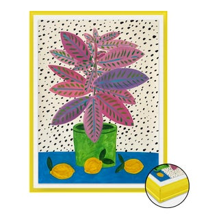 Pink and Purple Plant by Jelly Chen in Bright Yellow Acrylic Shadowbox, Small Art Print For Sale