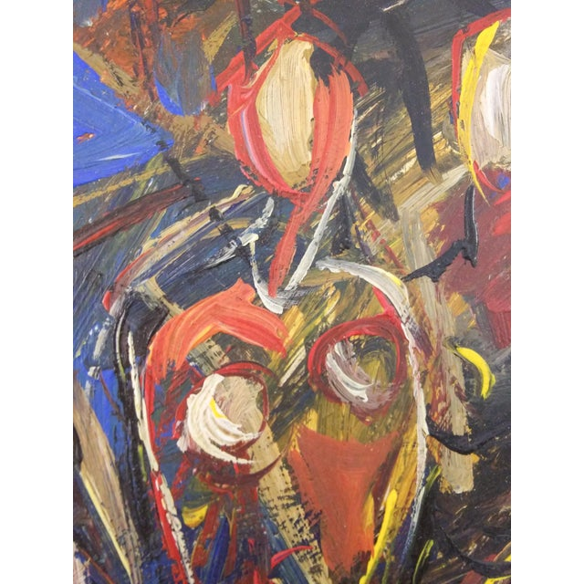 Abstract Vintage Mid-Century Portrait of Four Females Painting For Sale - Image 3 of 8
