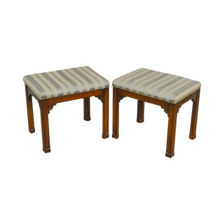 Harden Chippendale Style Pair of Solid Cherry Wood Stools or Benches For Sale